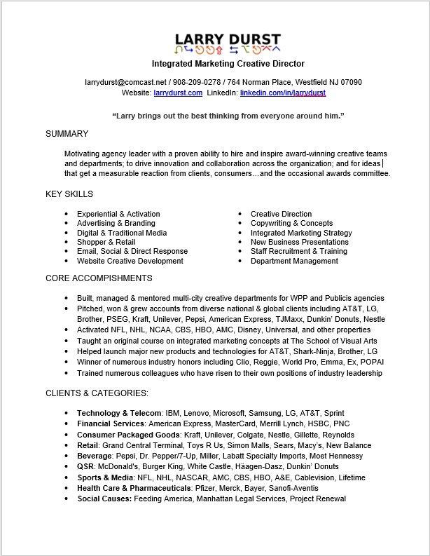Contact and Resume - Larry\'s Portfolio