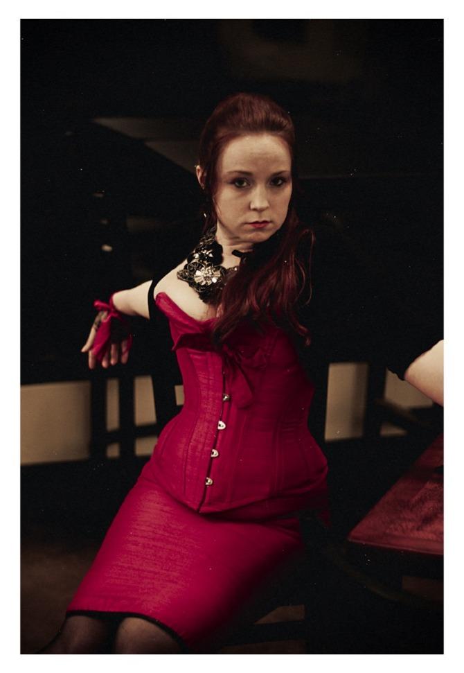 Fuschia Corset and Hobble Skirt
